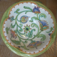 Lavello in ceramica decorato a mano.JPG