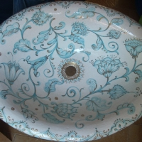 Lavello ovale in ceramica dipinta a mano.JPG