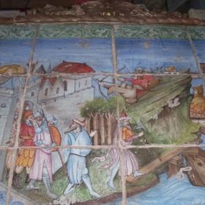 Pannello decorativo in ceramica con cornice in cotto realizzato a mano