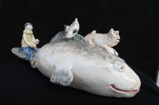 soprammobile in ceramica fatta a mano balena timoniere gatto uccellino