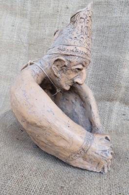 Busto di vescovo in terracotta anticata fatta a mano